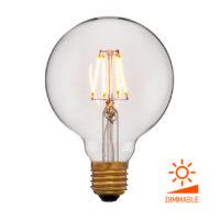 Лампа эдисона светодиодная LED G95 2C4 прозрачная 4вт(40вт) Е27 1800K 400Lm Диммируемая, без мерцания, код 056-779 Sun-Lumen