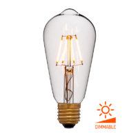 Лампа эдисона светодиодная LED ST64 2C4 прозрачная 4вт(40вт) Е27 1800K 400Lm Диммируемая, без мерцания, код 056-755 Sun-Lumen