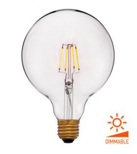 Лампа эдисона светодиодная LED G125 2C4 прозрачная 4вт(40вт) Е27 1800K 400Lm Диммир., 125x172 код 056-793 Sun-Lumen