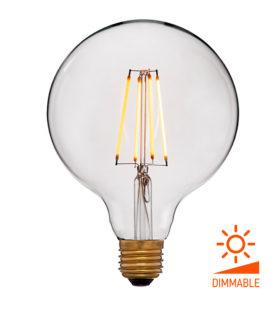 Лампа эдисона светодиодная LED G125 2C4+ прозрачная 4вт(40вт) Е27 2000K 400Lm Диммир., 125х172 код 056-809 Sun-Lumen