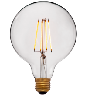 Лампа эдисона светодиодная LED G125 4C2 золотая 4вт(40вт) Е27 2200K 400Lm НЕ диммир., 125x172 код 056-793а Sun-Lumen