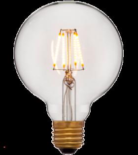 Лампа эдисона светодиодная LED G95 4C2 золотая 4вт(40вт) Е27 2200K 400Lm НЕ диммир., 95х140 код 056-779а Sun-Lumen