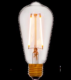 Лампа эдисона светодиодная LED ST64 2C2 прозрачная 4вт(40вт) Е27 2200K 400Lm НЕдиммир., 64х142 код 056-816 Sun-Lumen