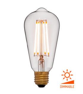 Лампа эдисона светодиодная LED ST64 2C4+ прозрачная 4вт(40вт) Е27 1800K 400Lm Диммир., 64х142 код 056-755 Sun-Lumen